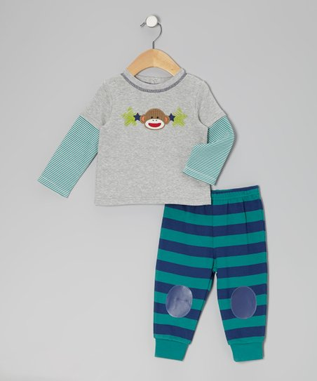 Gray Sock Monkey Layered Tee & Stripe Pants - Infant