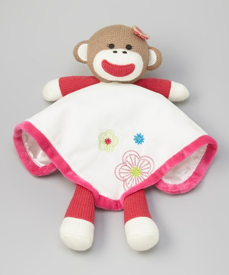 Pink & White Flower Sock Monkey Snuggle Pal