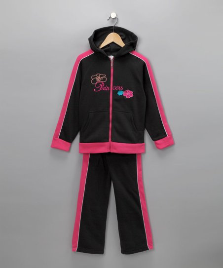 Black 'Princess' Zip-Up Hoodie & Sweatpants - Girls