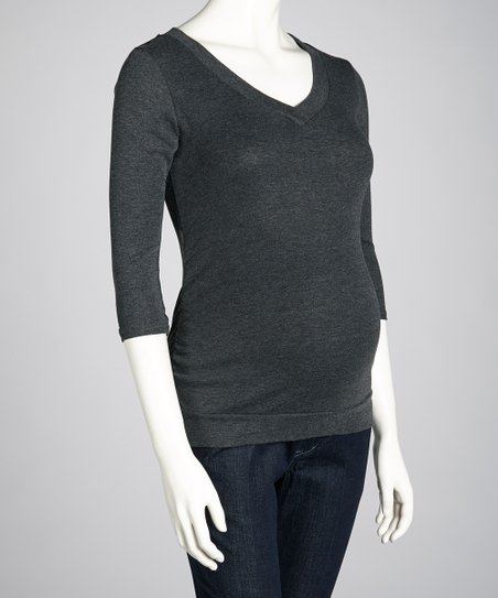 Charcoal Maternity Three-Quarter Sleeve Top - Women