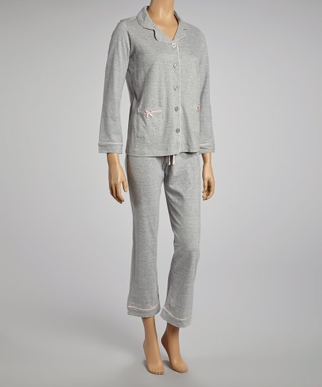 Gray Notch That Collar Pajama Set - Women