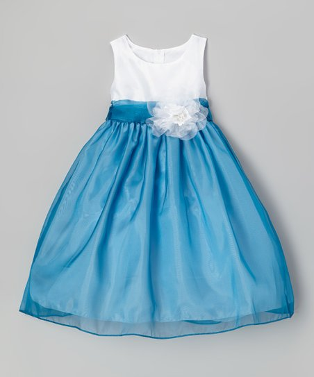 Blue & White Flower Babydoll Dress - Girls