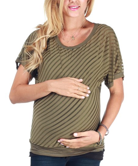 Olive Sheer Stripe Maternity Top