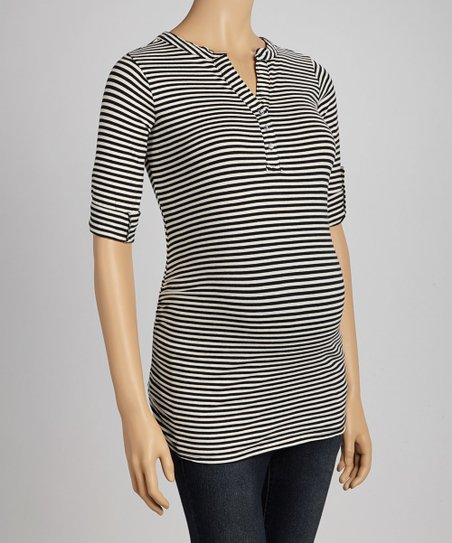 Black & Oatmeal Stripe Ruched Maternity Henley Top - Women