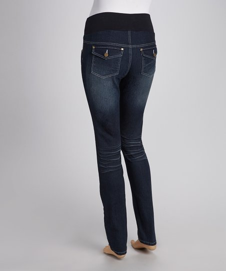Dark Wash Under-Belly Skinny Maternity Jeans