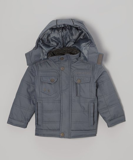 Gray Quilted Hooded Jacket - Toddler & Boys