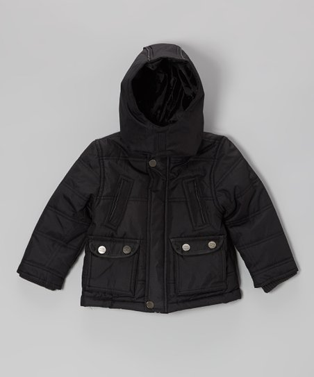 Black Quilted High Pocket Hooded Jacket - Toddler & Boys