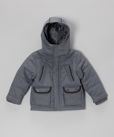 Gray Quilted High Pocket Hooded Jacket - Toddler & Boys