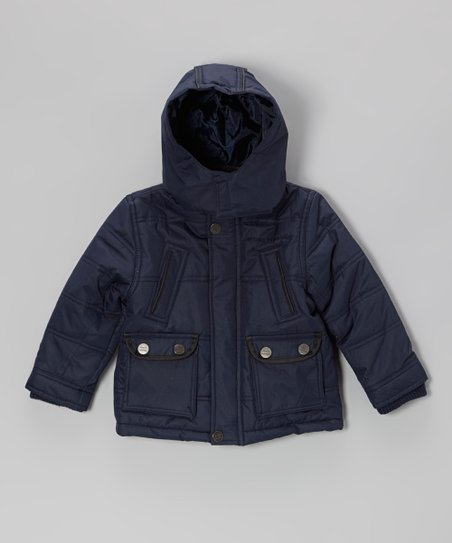 Navy Quilted High Pocket Hooded Jacket - Toddler & Boys