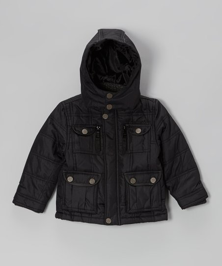 Black Quilted Button Pocket Hooded Jacket - Toddler & Boys