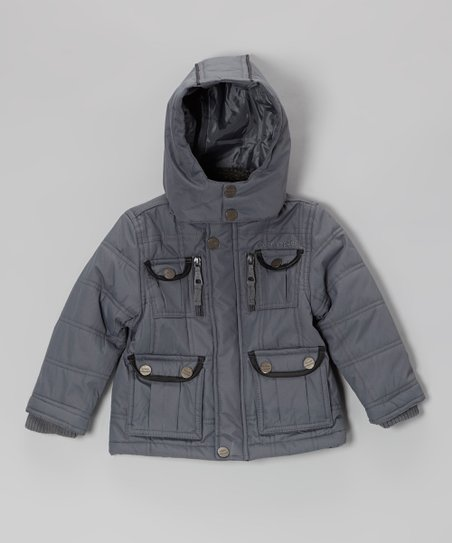 Gray Quilted Button Pocket Hooded Jacket - Toddler & Boys