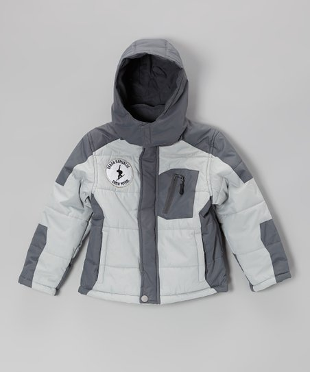 Light Gray Bubble Jacket - Boys