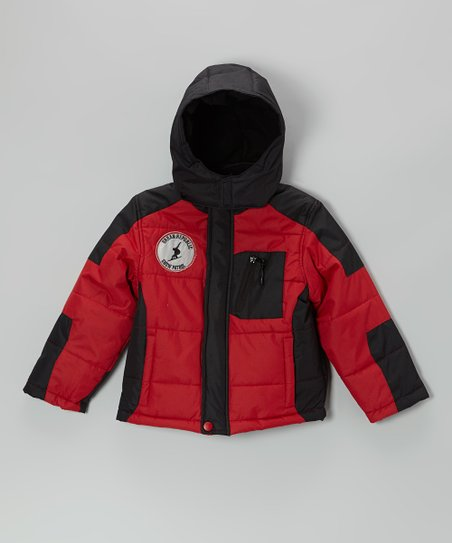 Deep Red Bubble Jacket - Boys