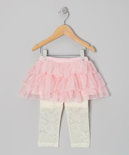 Pink & Ivory Lace Skirted Leggings - Infant, Toddler & Girls