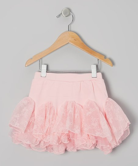 Pink Floral Lace Kick Pleat Skirt - Infant