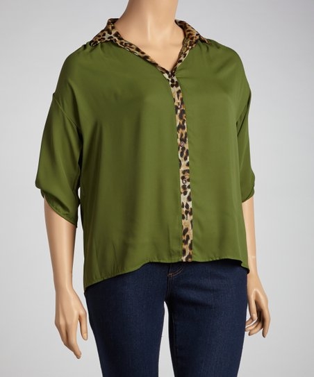 Olive & Leopard Button-Up - Plus