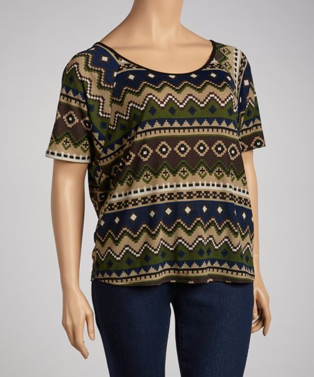 Olive Tribal Tunic - Plus