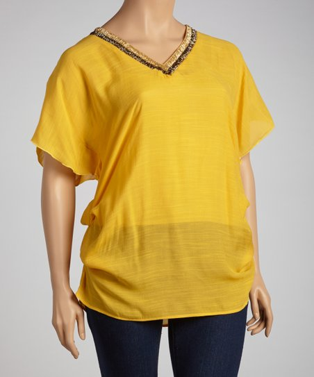 Gold Beaded Dolman Tunic - Plus