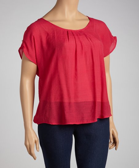 Fuchsia Braided Back Dolman Top  - Plus