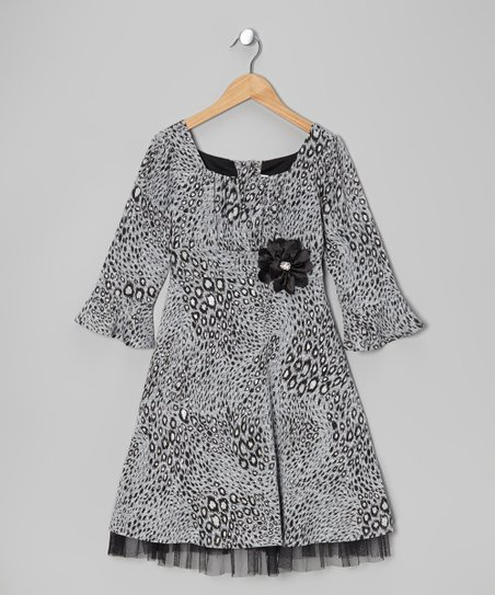 Gray & Black Leopard Dress - Toddler & Girls