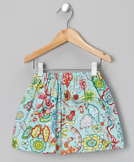 Blue Floral Skirt – Toddler & Girls