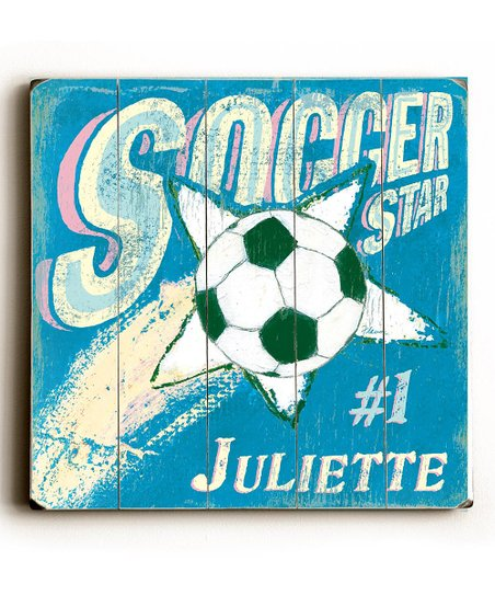 Artehouse Aqua & Pink 'Soccer Star' Personalized Wall Art