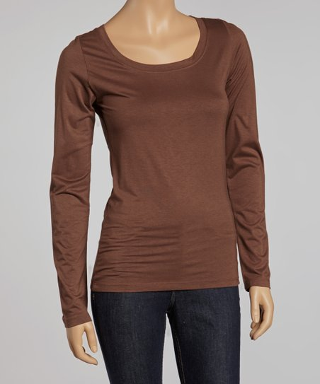 Bronze Scoop Neck Long-Sleeve Top