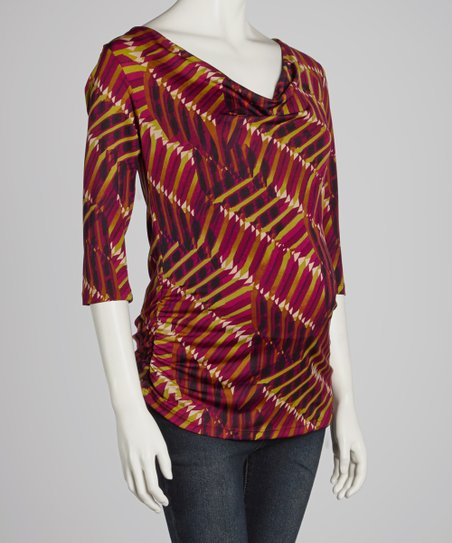 Burgundy Abstract Maternity/Nursing Three-Quarter Sleeve Top