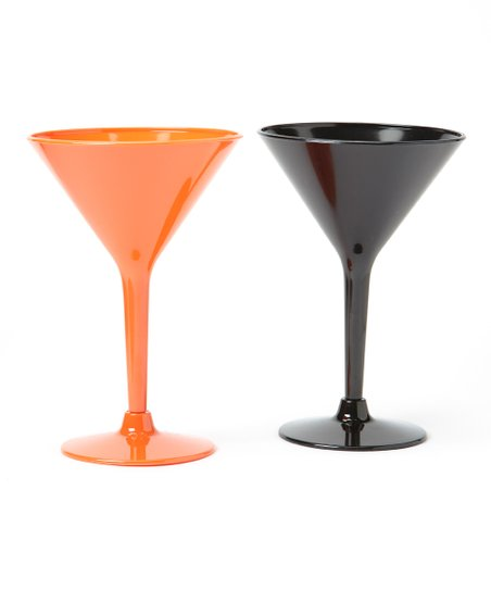 Orange & Black Halloween Martini Glass Set