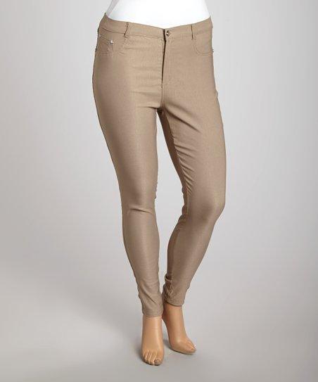 Khaki Super Stretch Skinny Pants – Plus