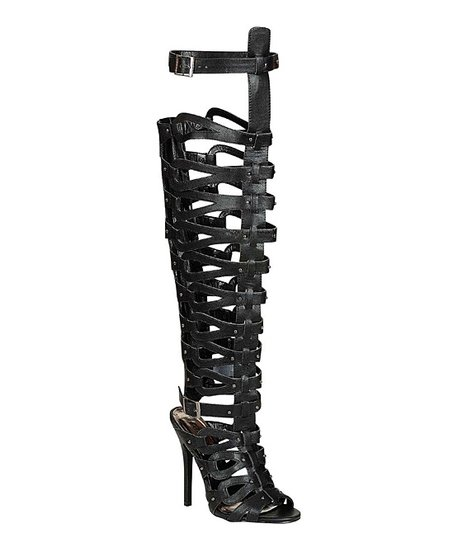 Black Diva Cutout Gladiator Boot