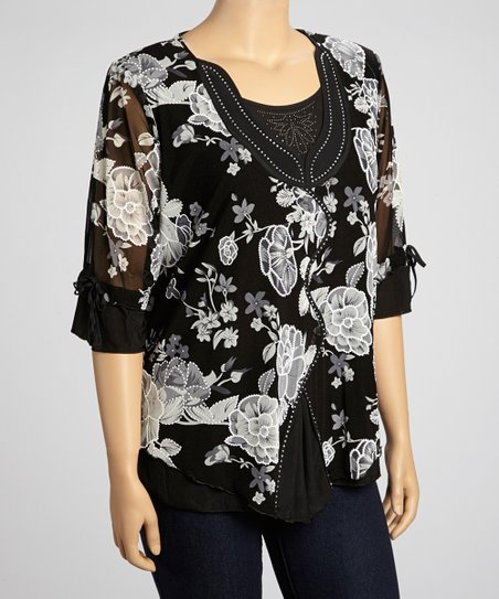 Black & Gray Floral Three-Quarter Sleeve Top - Plus