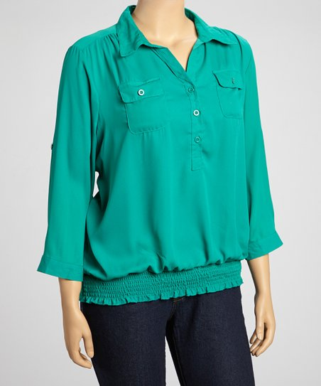 Emerald Roll-Tab Smocked Henley - Plus