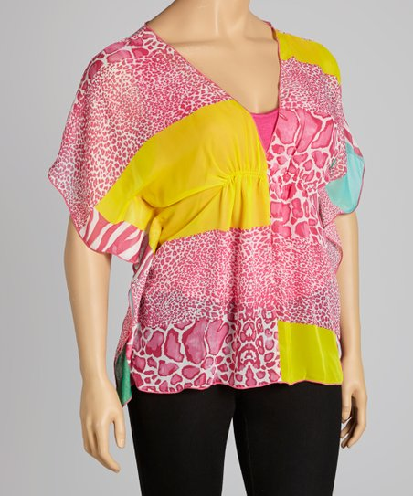 Pink & Yellow Tropics Cape-Sleeve V-Neck Top - Plus
