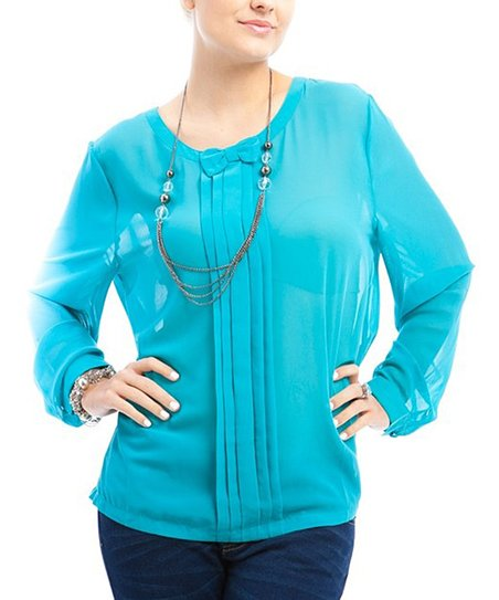 Aqua Pleated Top - Plus