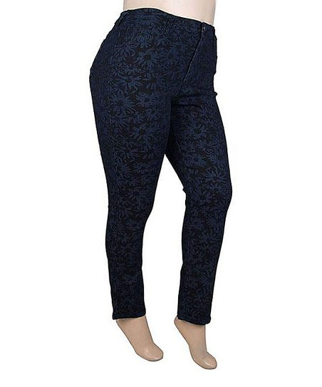 Navy & Black Daisy Skinny Jeans - Plus
