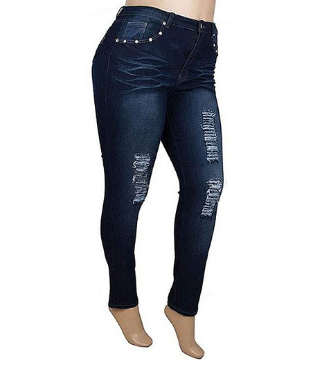 Dark Indigo Distressed Skinny Jeans - Plus
