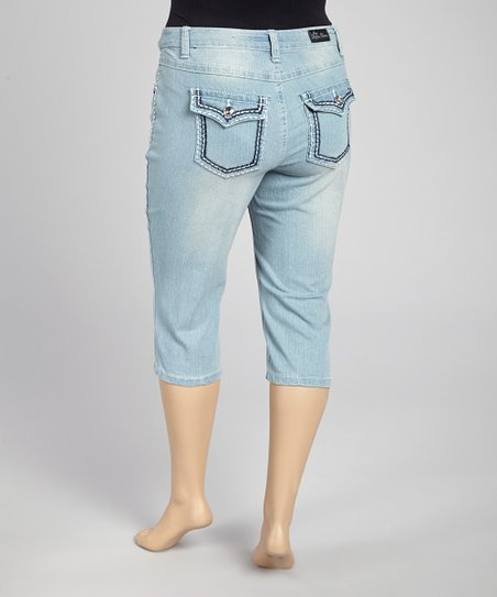 Light Wash Capri Jeans - Plus