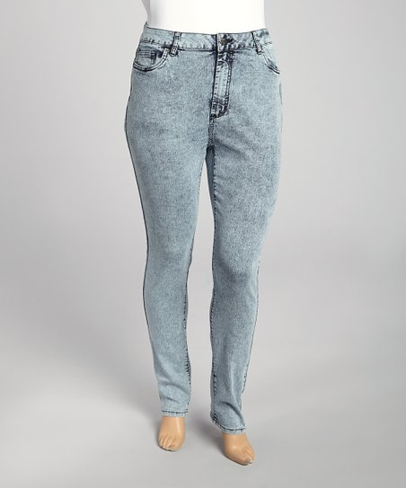 Denim Blue Acid Wash Jeans - Plus