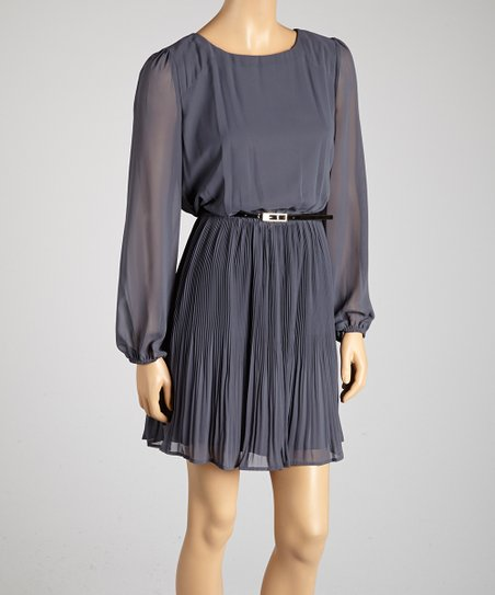 Steel Pleated Belted Dress