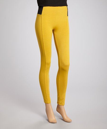 Yellow Color Block Skinny Pants