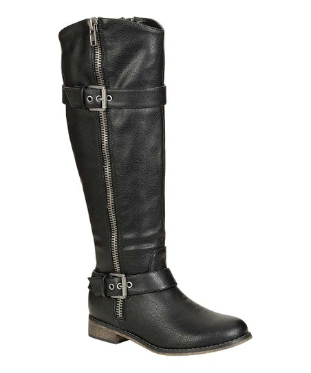 Black Double-Buckle Rider Boot