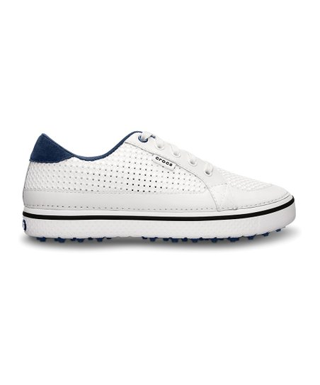 White & Navy Drayden Golf Shoe - Men