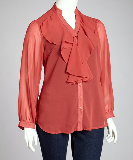 Coral Ruffle Button-Up Top - Plus