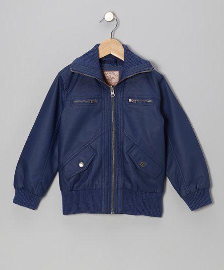 Highland Blue Bomber Jacket - Girls