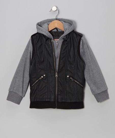 Black Zip-Up Hooded Jacket - Girls
