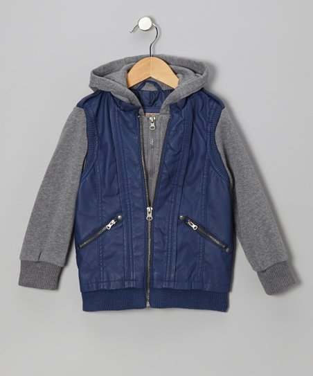 Highland Blue Zip-Up Hooded Jacket - Girls