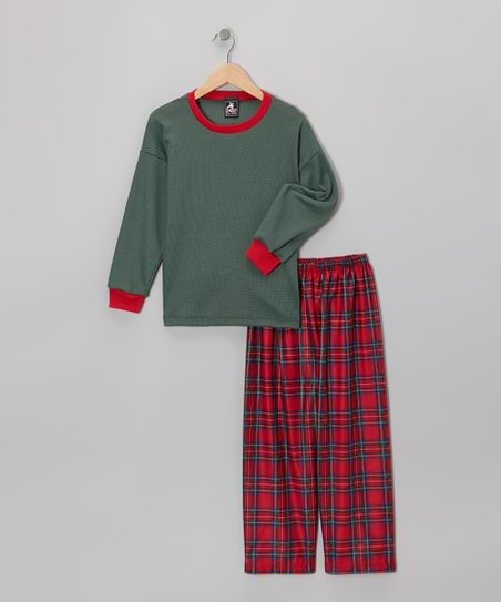 Green & Red Plaid Pajama Set - Boys