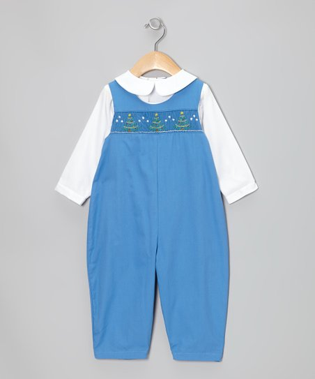White Shirt & Blue Christmas Tree Overalls - Infant