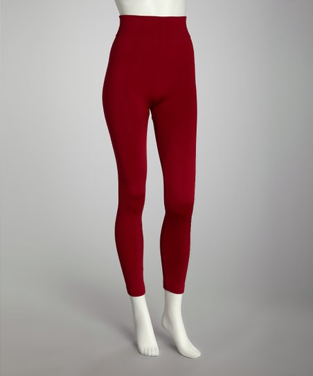 Dark Red Fleece-Lined Footless Tights Set